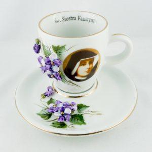 Filiżanki ceramiczne z S. Faustyną
